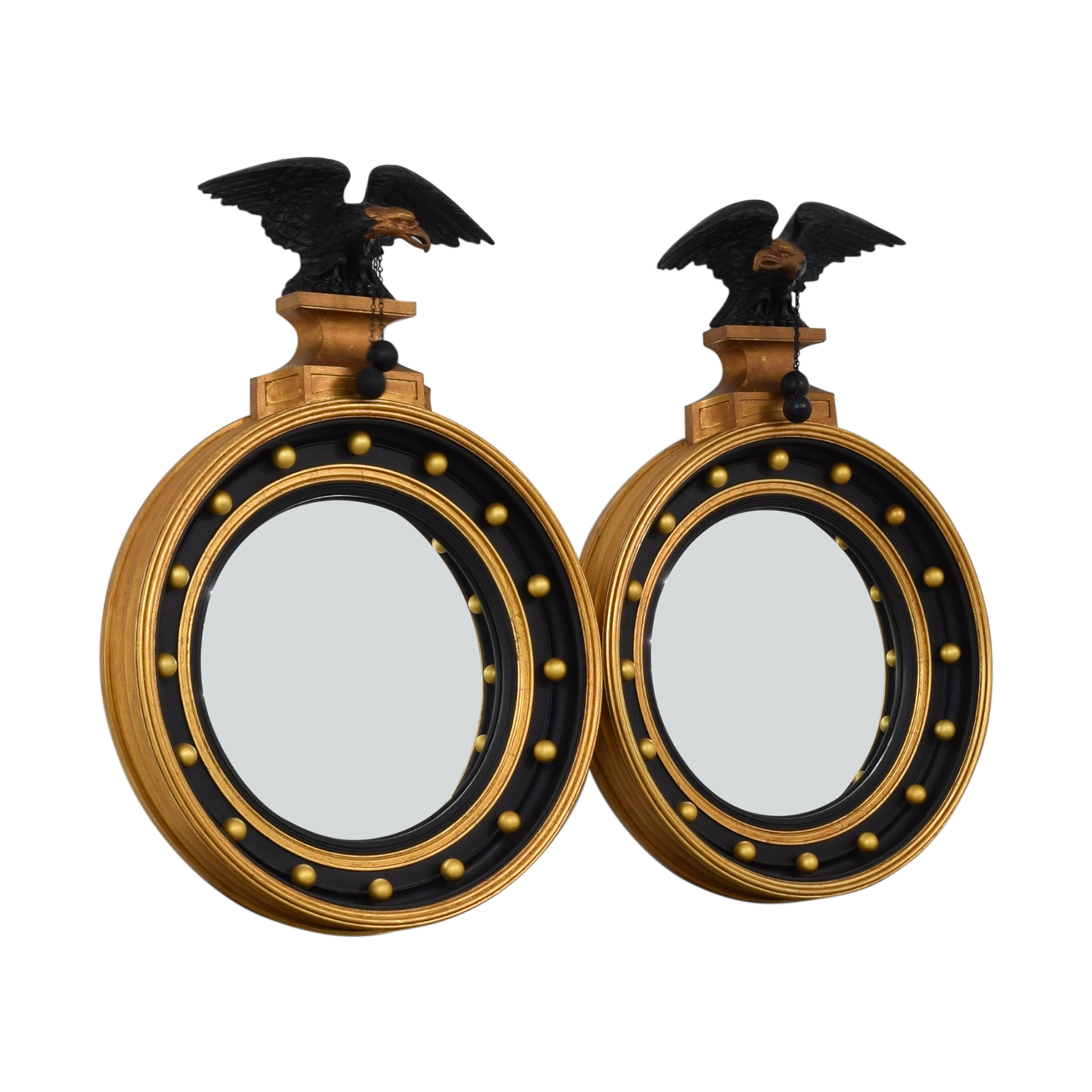 Federal Style Black and Gold Round Mirrors black/gold