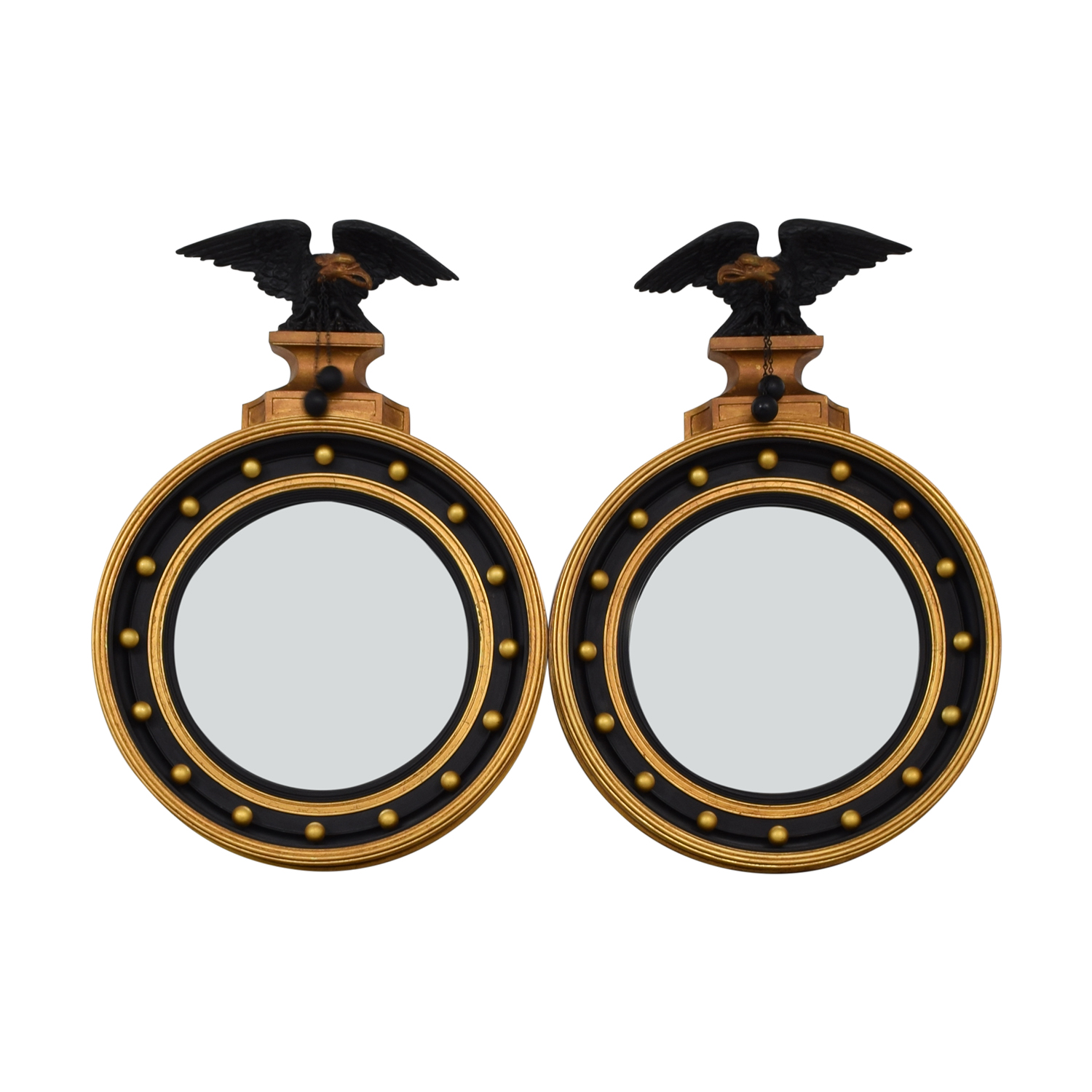 Federal Style Black and Gold Round Mirrors second hand