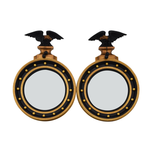 Federal Style Black and Gold Round Mirrors Decor