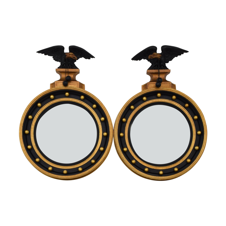 buy Federal Style Black and Gold Round Mirrors