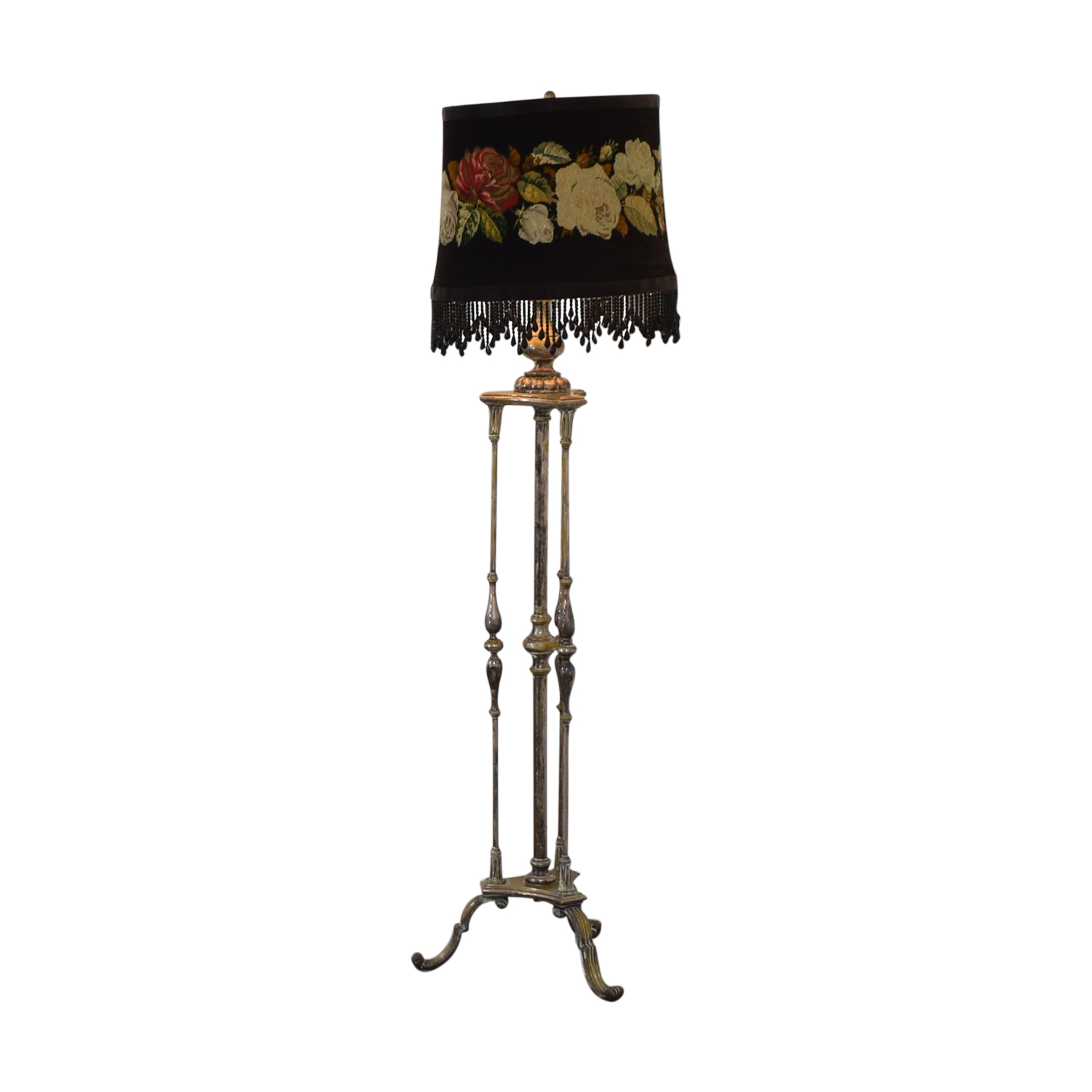 Antique Silver Plated Floral Needlepoint Floor Lamp
