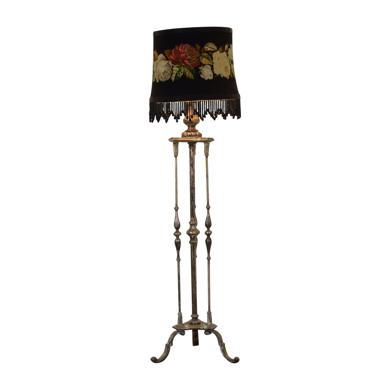 Antique Silver Plated Floral Needlepoint Floor Lamp nyc