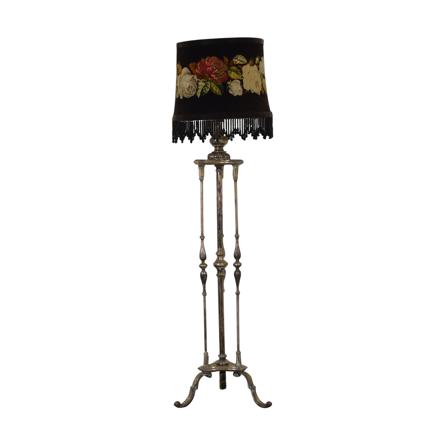 shop Antique Silver Plated Floral Needlepoint Floor Lamp  Decor