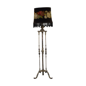 Antique Silver Plated Floral Needlepoint Floor Lamp for sale