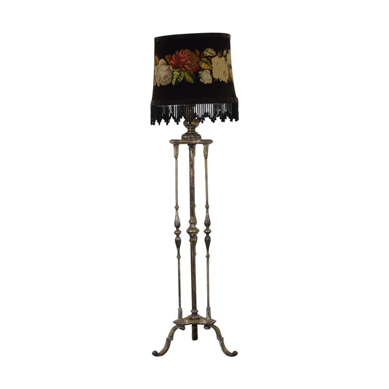Antique Silver Plated Floral Needlepoint Floor Lamp Decor
