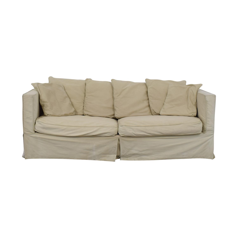 Crate & Barrel Crate & Barrel Beige Skirted Two-Cushion Sofa