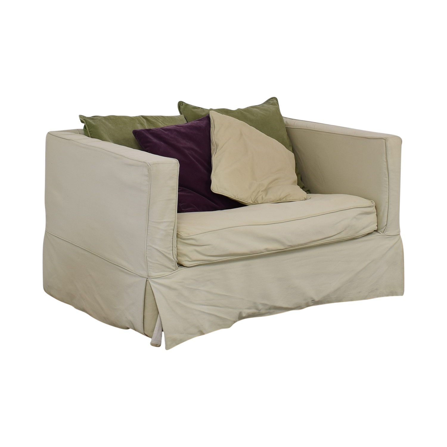 Crate & Barrel Crate & Barrel Beige Single Cushion Loveseat with Twin Pull Out Bed for sale