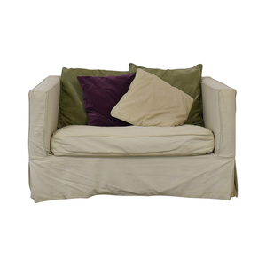 buy Crate & Barrel Crate & Barrel Beige Single Cushion Loveseat with Twin Pull Out Bed online