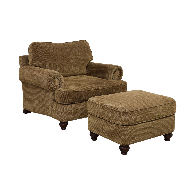 shop Ethan Allen Oversized Chair with Ottoman Ethan Allen