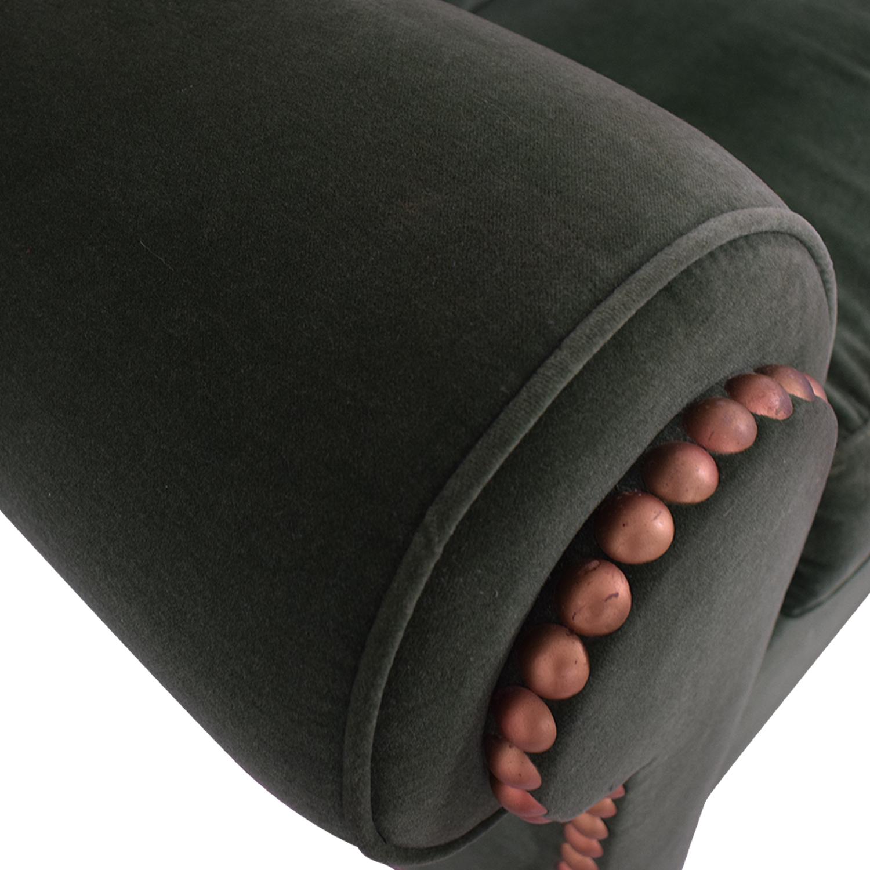 Green Nailhead Two-Cushion Loveseat nj