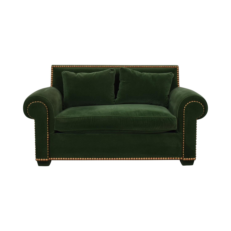 Green Nailhead Two-Cushion Loveseat green