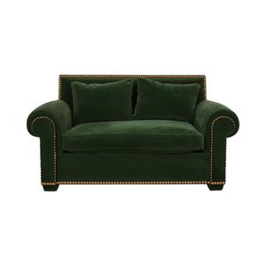 Green Nailhead Two-Cushion Loveseat