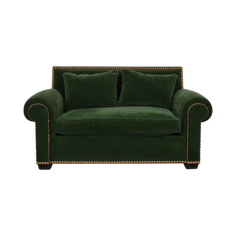 Green Nailhead Two-Cushion Loveseat on sale