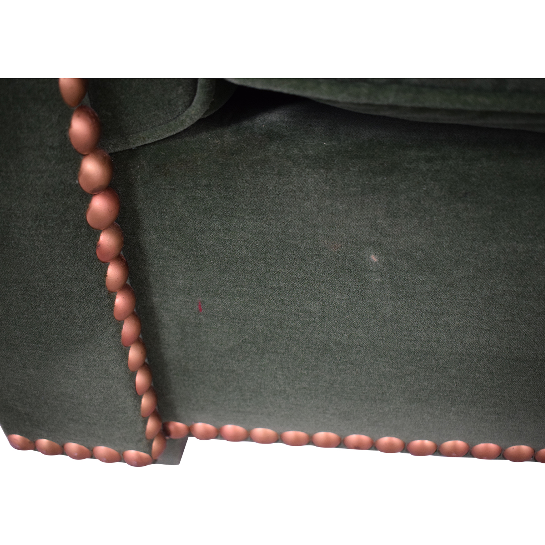 Green Nailhead Two-Cushion Loveseat nyc