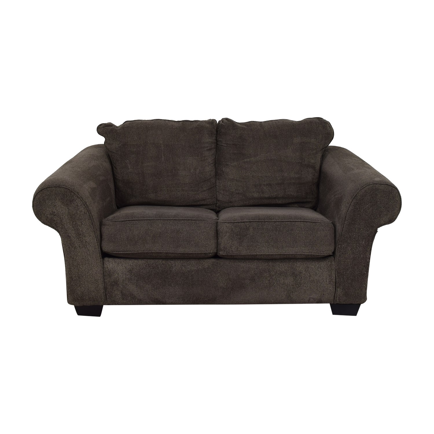 Ashley Furniture Ashley Furniture Grey Microfiber Two Cushion Loveseat discount