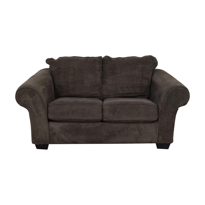 shop Ashley Furniture Grey Microfiber Two Cushion Loveseat Ashley Furniture Sofas