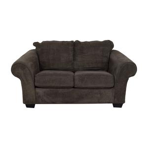 Ashley Furniture Ashley Furniture Grey Microfiber Two Cushion Loveseat discount