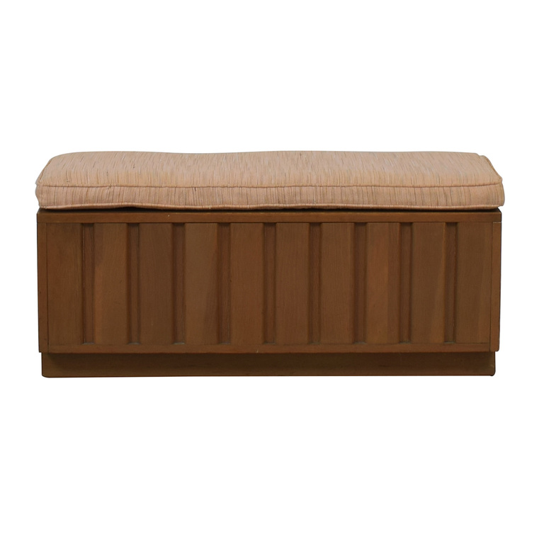 buy Wood Storage Bench with Beige Cushion