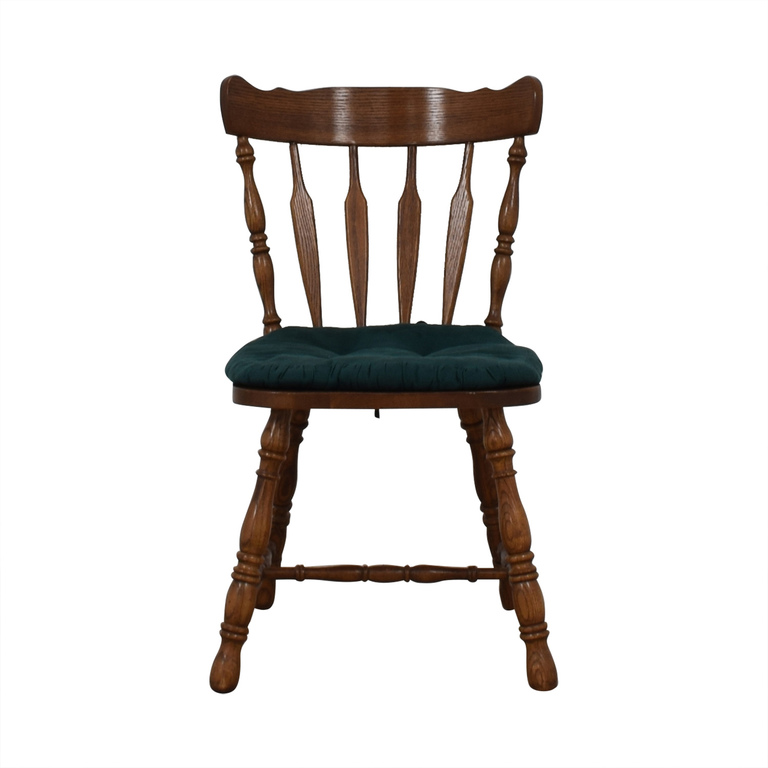 buy Wood Chair with Teal Cushion