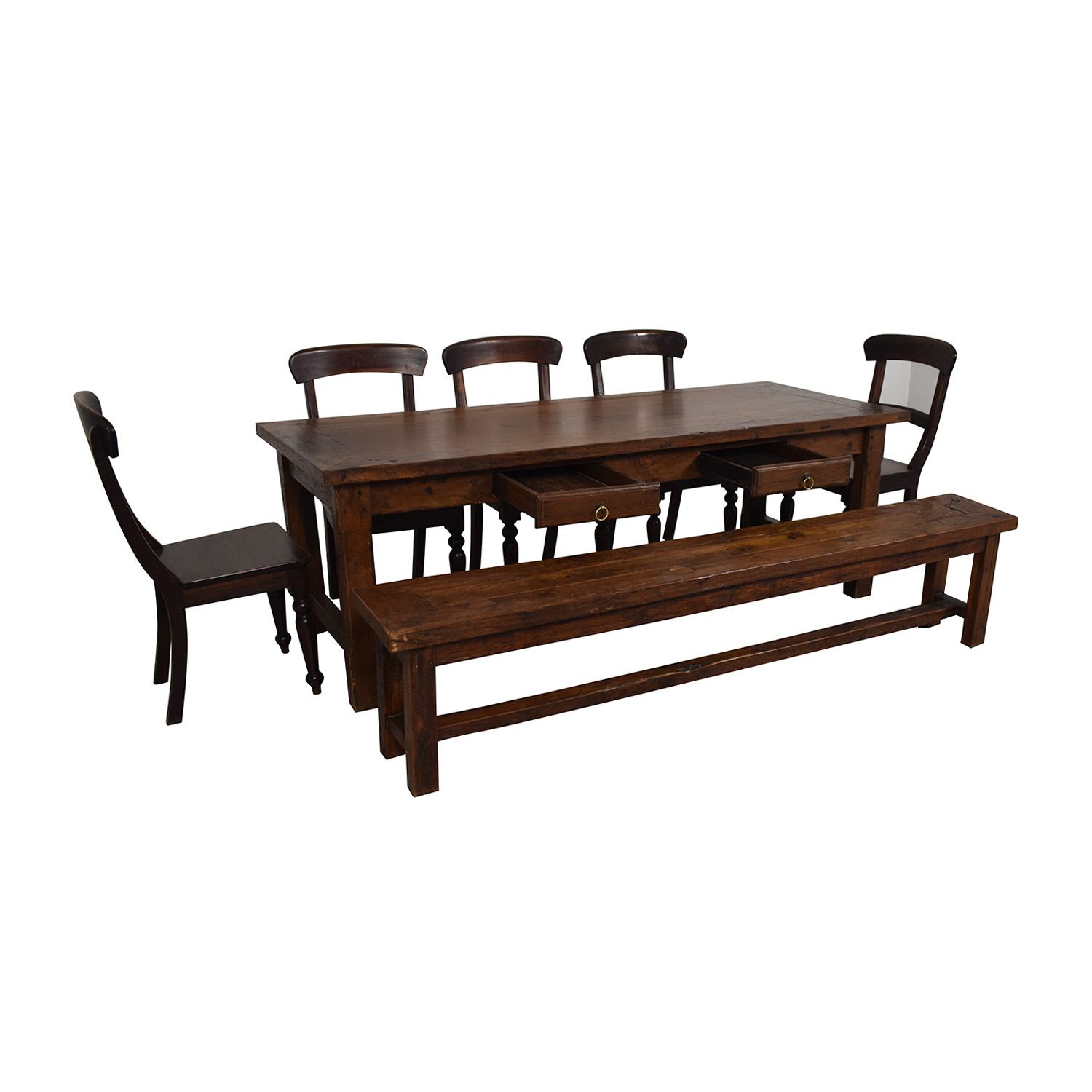Crate & Barrel Crate & Barrel Extendable Dining Set with Bench for sale