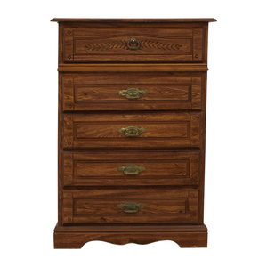 buy Five-Drawer Wood Tall Dresser