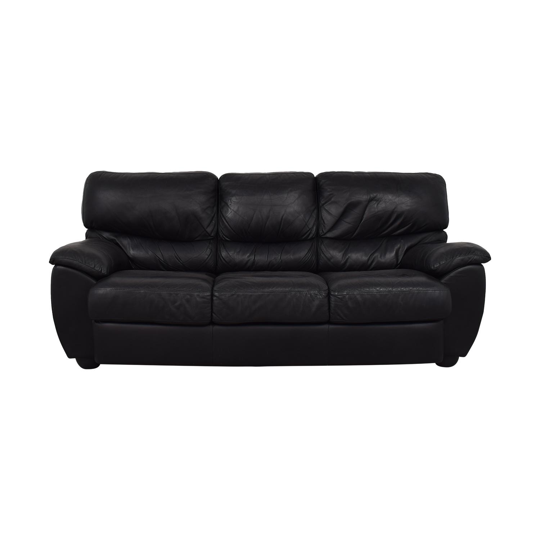 Black Three-Cushion Sofa