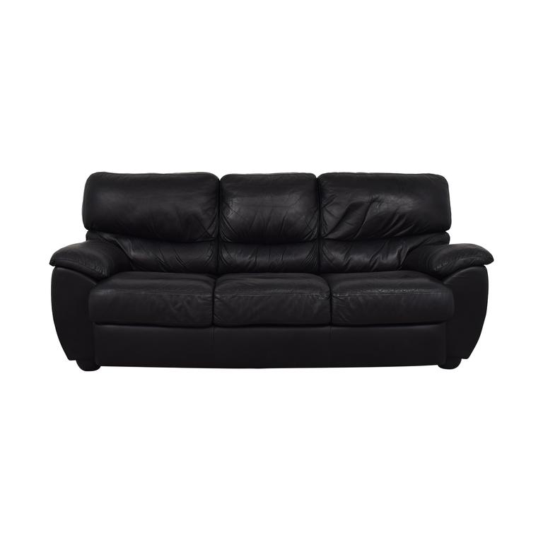 buy Black Three-Cushion Sofa