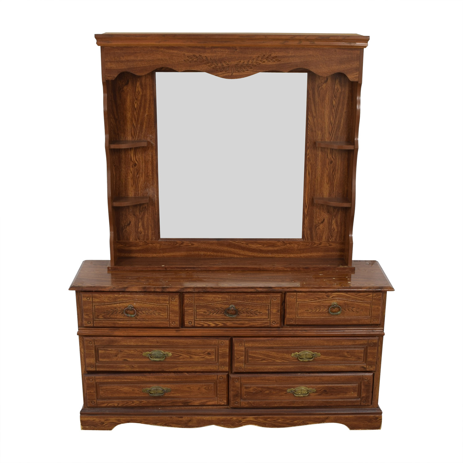 Seven Drawer Wood Dresser With Mirror And Shelves Coupon
