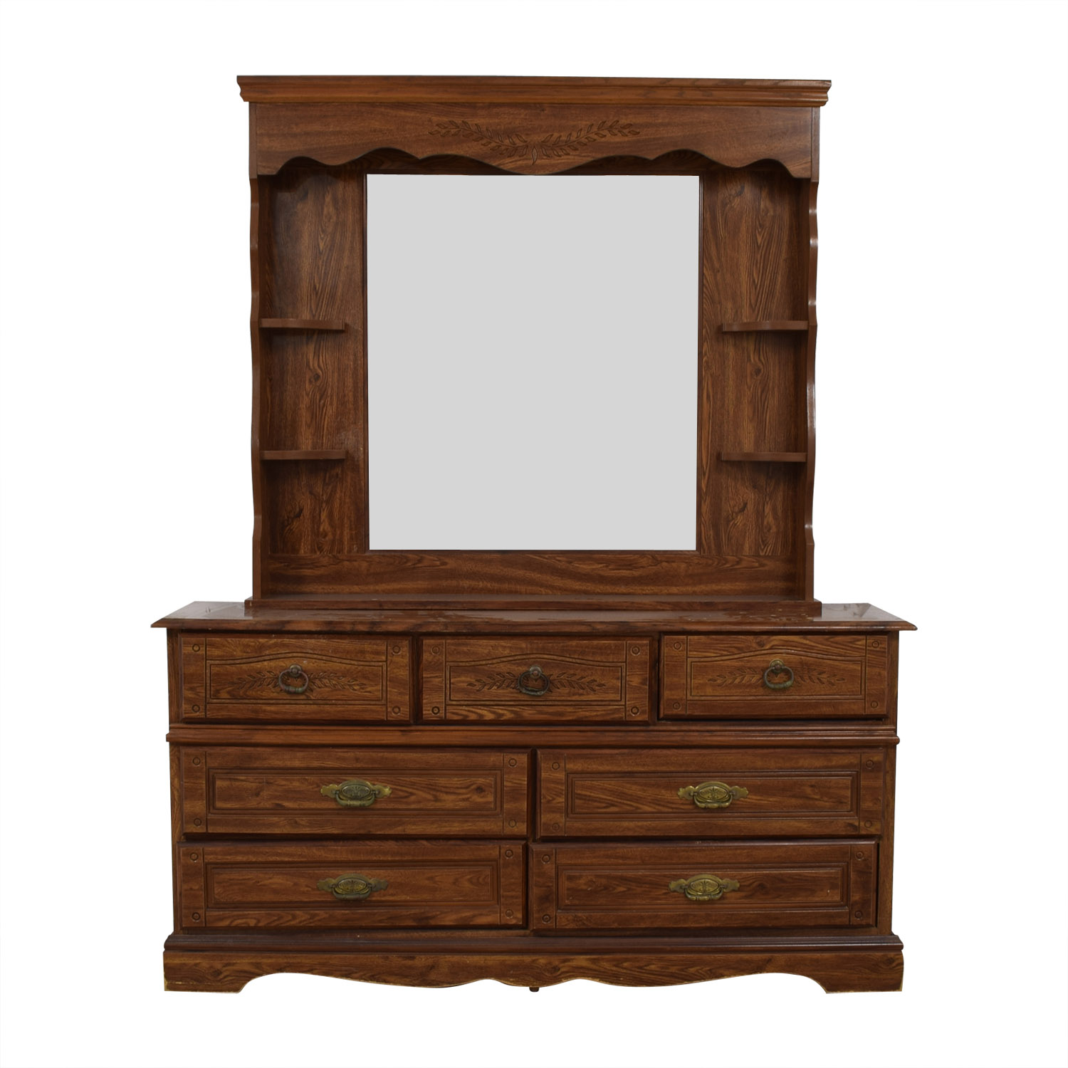 Seven-Drawer Wood Dresser with Mirror and Shelves nyc