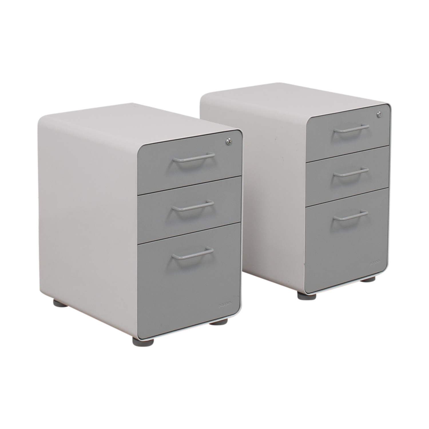 buy Poppin White and Grey Rolling Three-Drawer File Cabinets Poppin Storage
