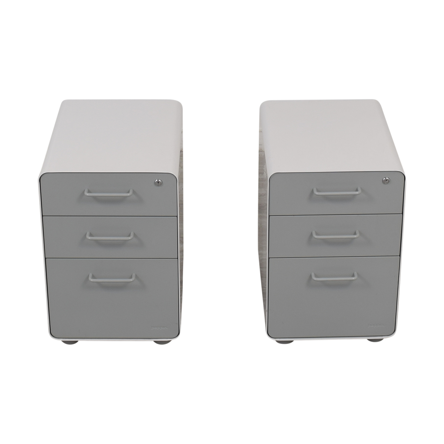 Poppin Poppin White and Grey Rolling Three-Drawer File Cabinets Filing & Bins