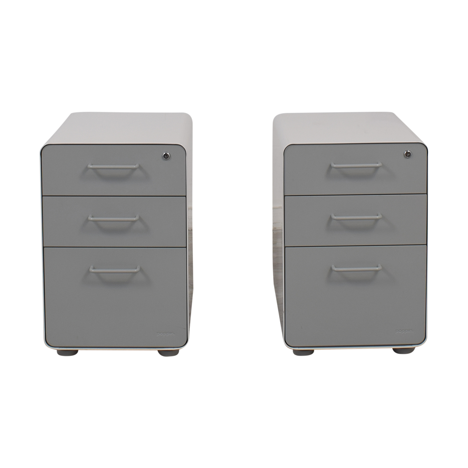Poppin Poppin White and Grey Rolling Three-Drawer File Cabinets price