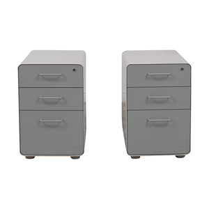 Poppin Poppin White and Grey Rolling Three-Drawer File Cabinets discount
