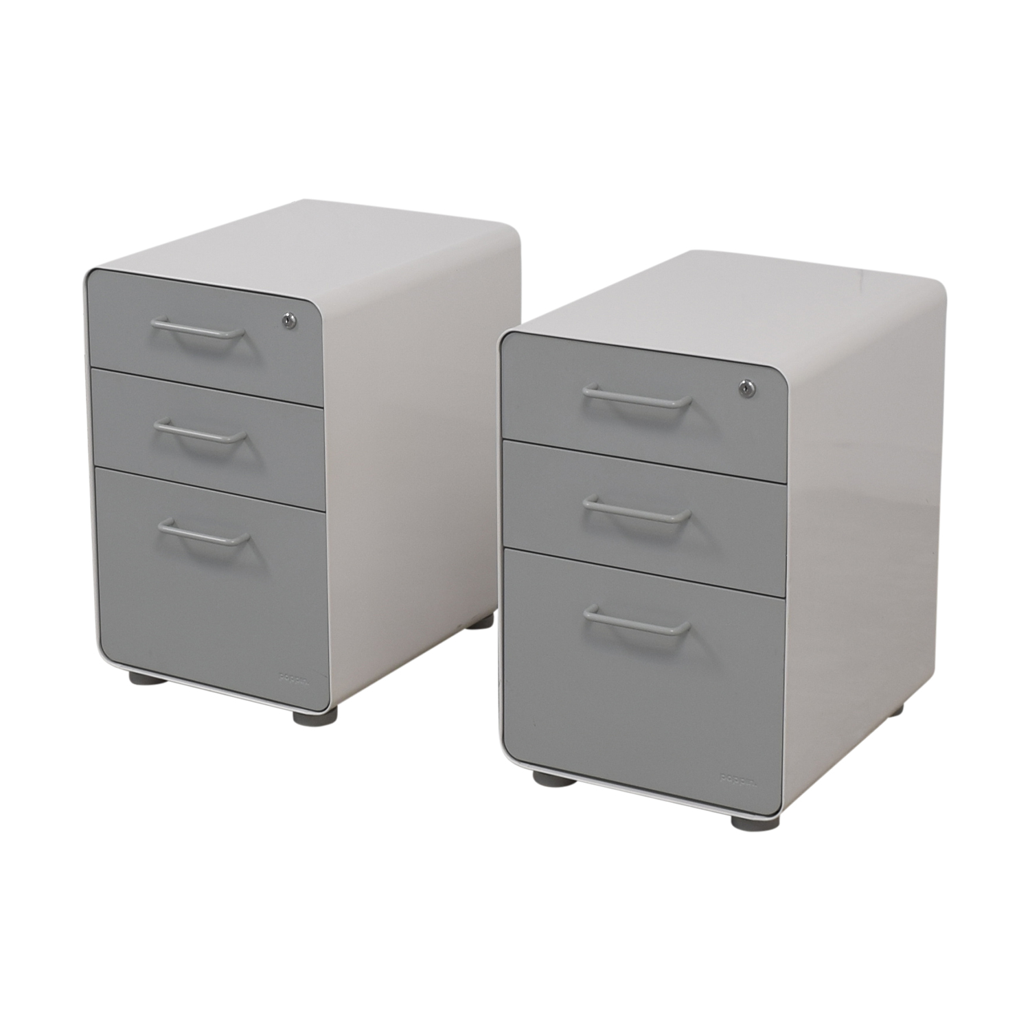 buy Poppin White and Grey Rolling Three-Drawer File Cabinets Poppin