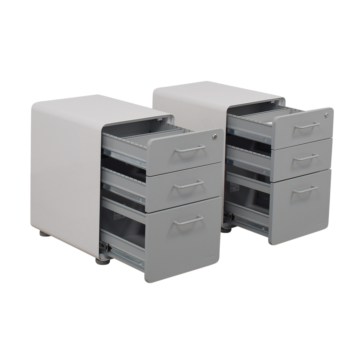 Poppin Poppin White and Grey Rolling Three-Drawer File Cabinets nj