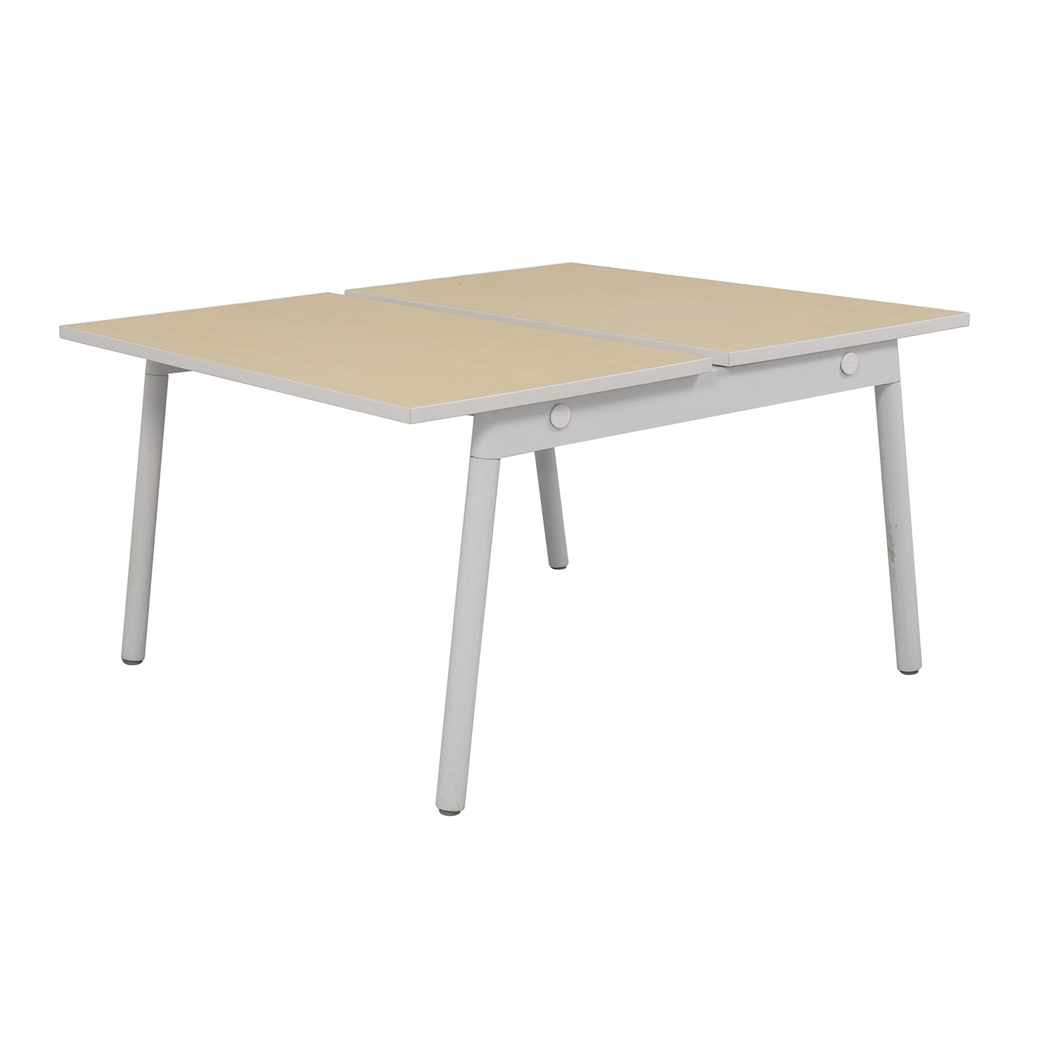 Poppin Poppin Series A Natural Oak Double Desk nyc