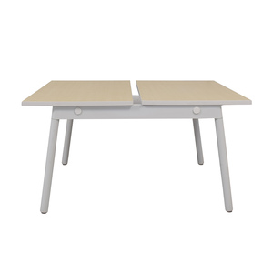 Poppin Poppin Series A Natural Oak Double Desk dimensions