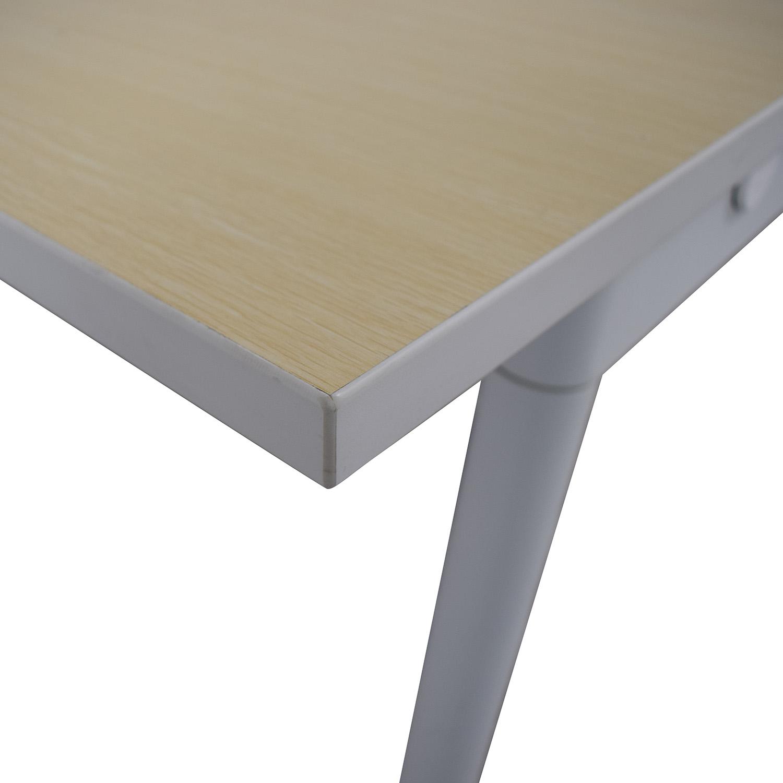 Poppin Poppin Series A Natural Oak Double Desk Home Office Desks