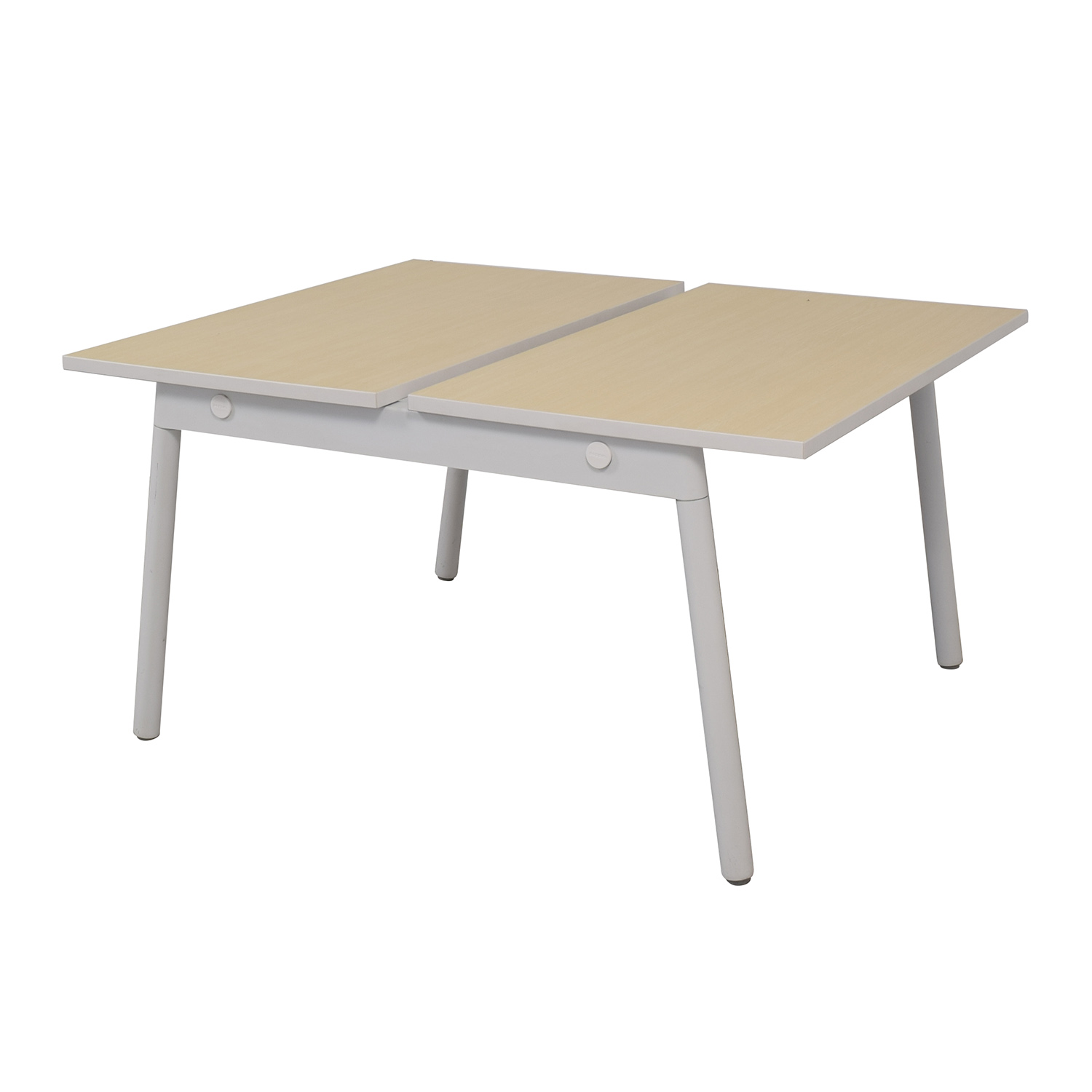 Poppin Poppin Series A Natural Oak Double Desk used