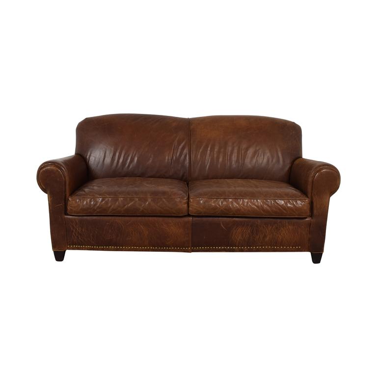 Crate & Barrel Rustic Cognac Two-Cushion Sofa Crate & Barrel