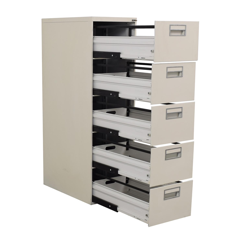White Five-Drawer Filing Cabinet nj