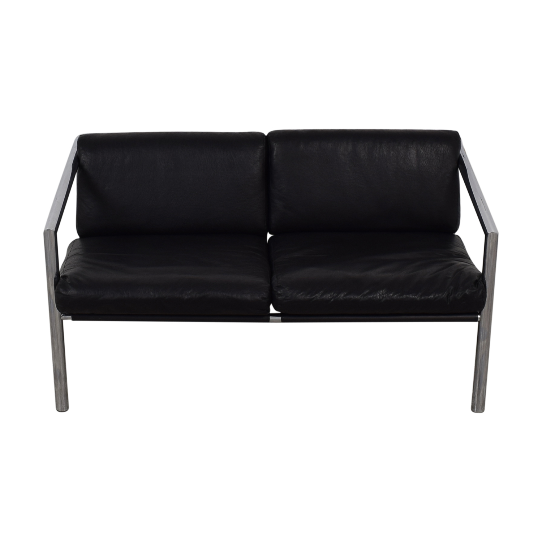 Black and Chrome Two-Cushion Minimalist Sofa sale