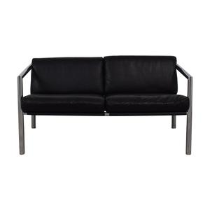 buy Black and Chrome Two-Cushion Minimalist Sofa  Sofas