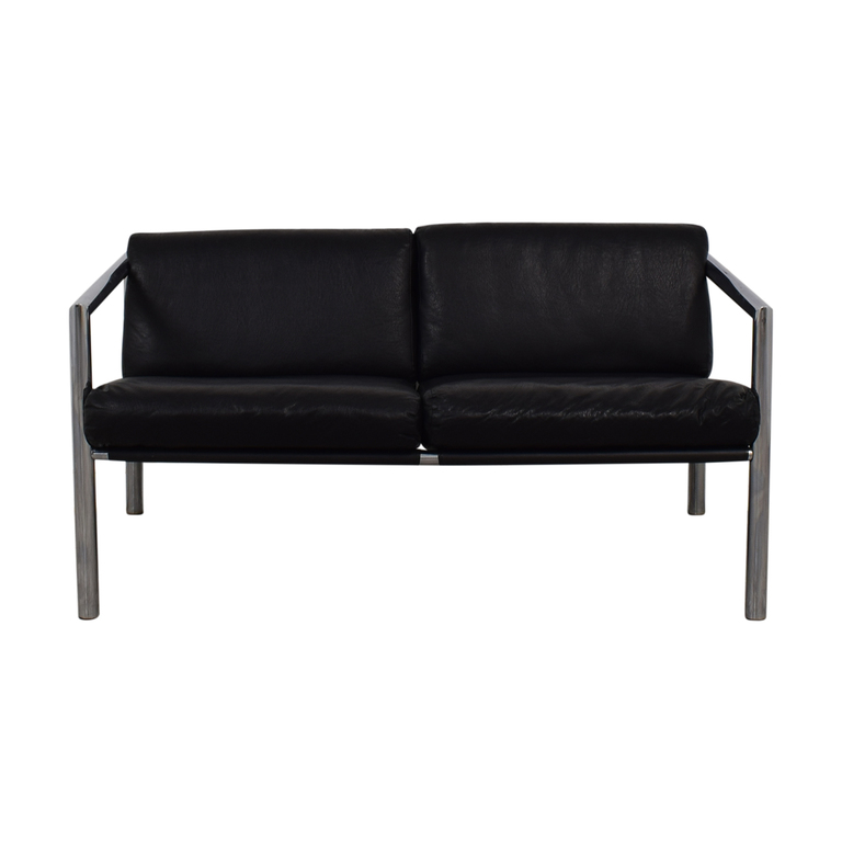 Black and Chrome Two-Cushion Minimalist Sofa used
