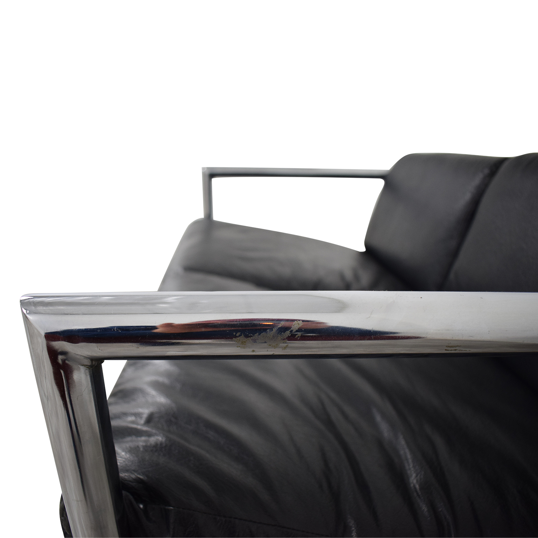 Black and Chrome Two-Cushion Minimalist Sofa dimensions