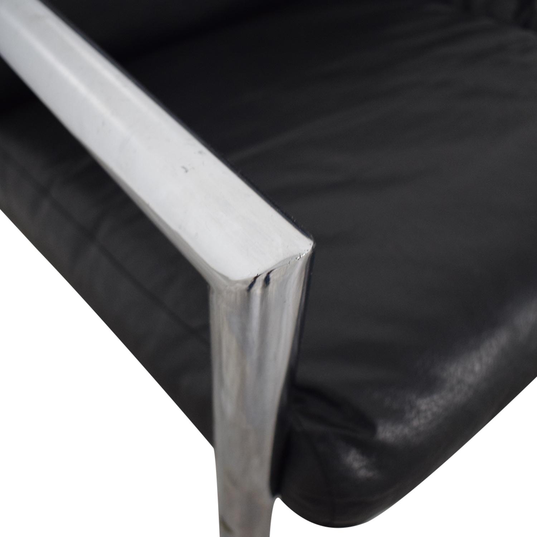 shop Black and Chrome Two-Cushion Minimalist Sofa  Classic Sofas