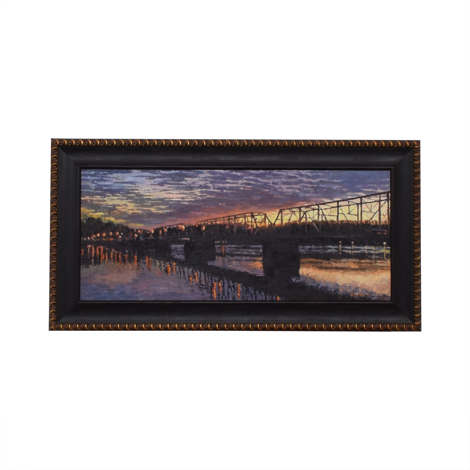 Sexton Signed Original Bridge over River at Sunset Oil Painting