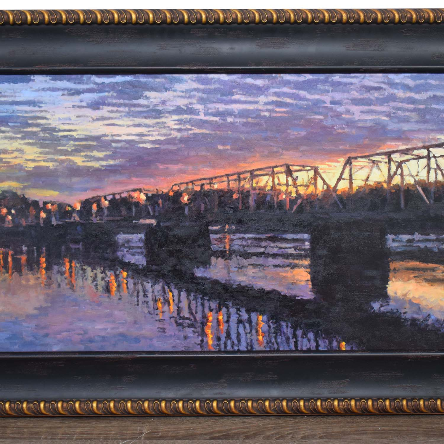 shop Sexton Signed Original Bridge over River at Sunset Oil Painting  Wall Art