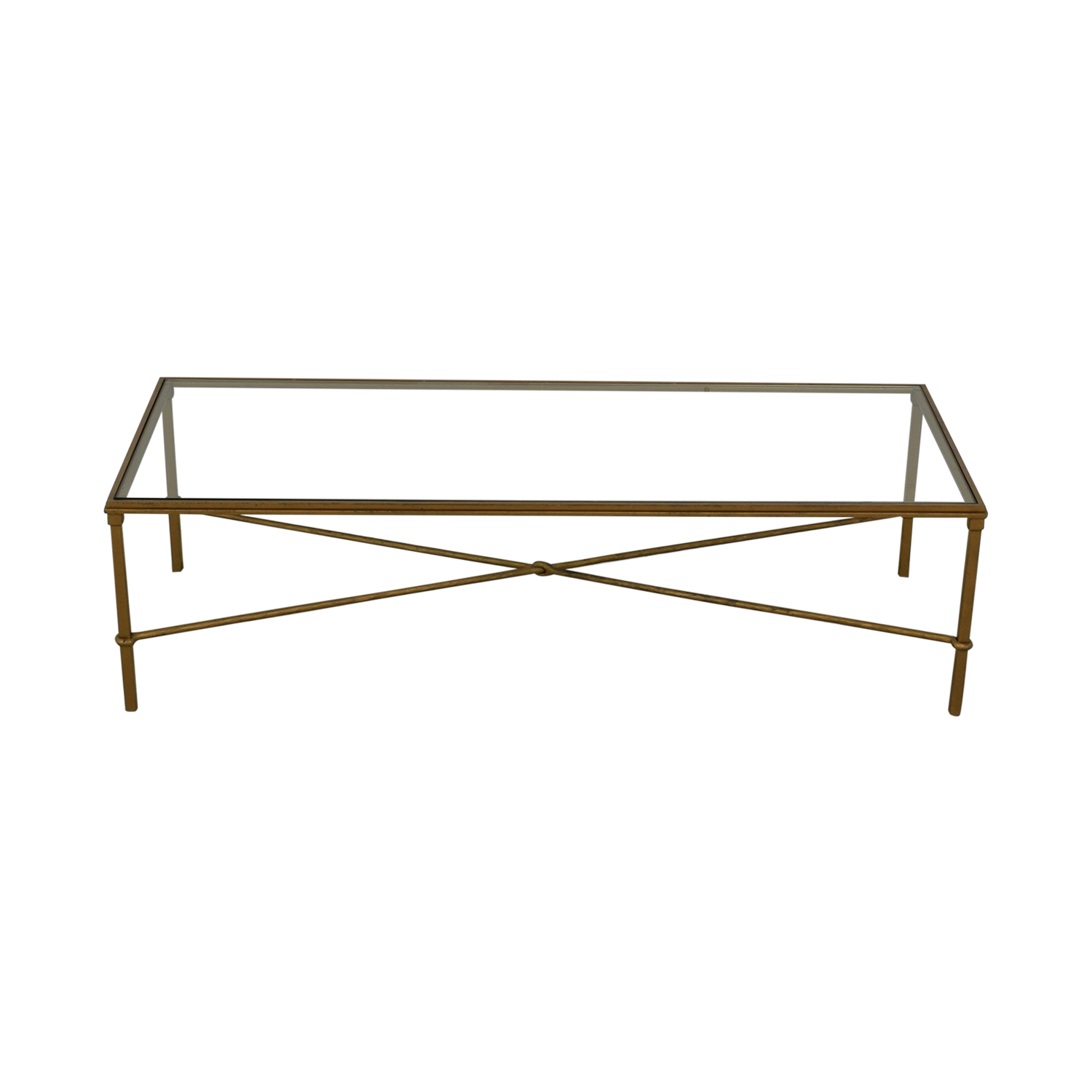 Rectangular Metal and Glass Coffee Table Tables