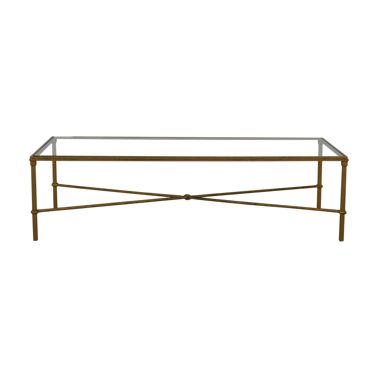 87% OFF   Rectangular Metal And Glass Coffee Table / Tables